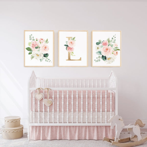 Baby Girl Nursery Wall Art Watercolor Floral Print Blush Light Pink Prints for Nursery Over Crib