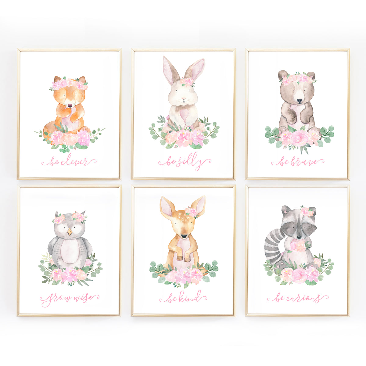 Woodland Nursery Art For Baby Girl Pink And Mint