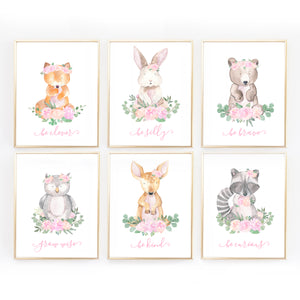 Woodland Nursery Wall Art Decor for Baby Girl - Pink and Mint Woodland Animals Girls
