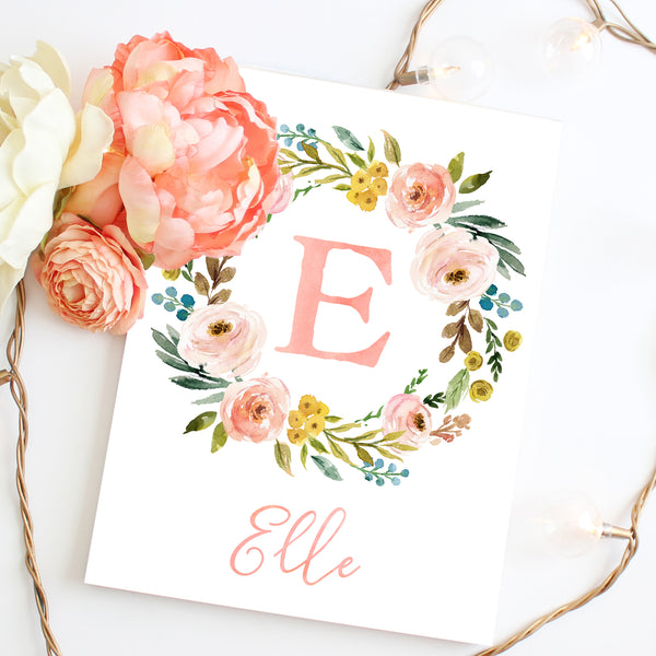 Meadowland Floral Monogram Wreath with Name - Personalized Print