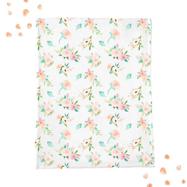 Floral Whimsy Mint & Blush Minky Blanket