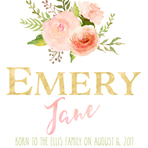 Floral Whimsy Birth Announcement - Personalized Printable