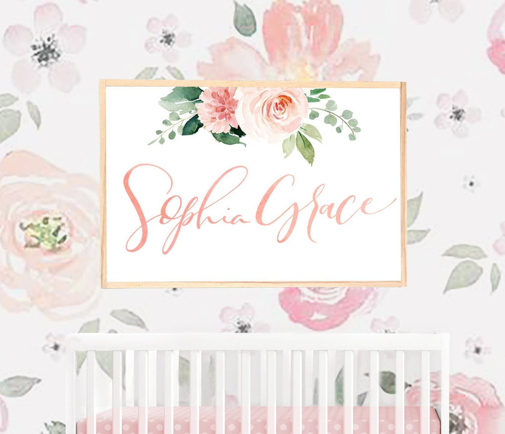 Custom Calligraphy Name Sign with Blush Floral Bouquet  - Framed