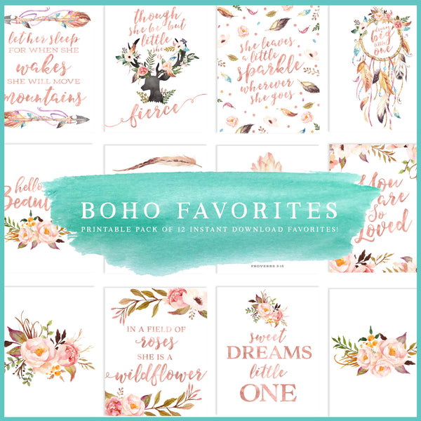 Blush Nursery Art - Boho Nursery Art Set - Rose Gold Nursery