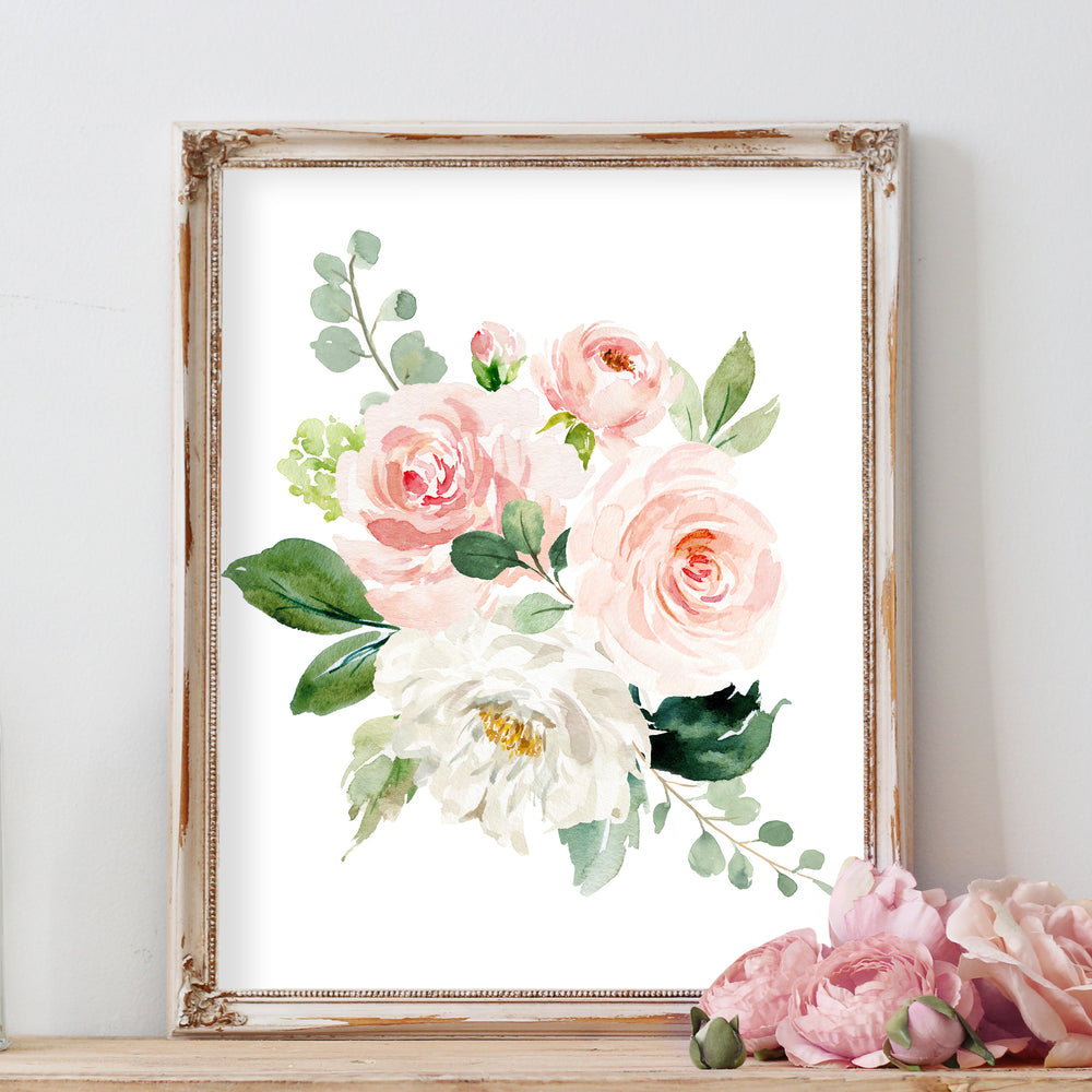 Watercolor Floral Nursery Art - Blush Pink Girl Nursery Wall Art
