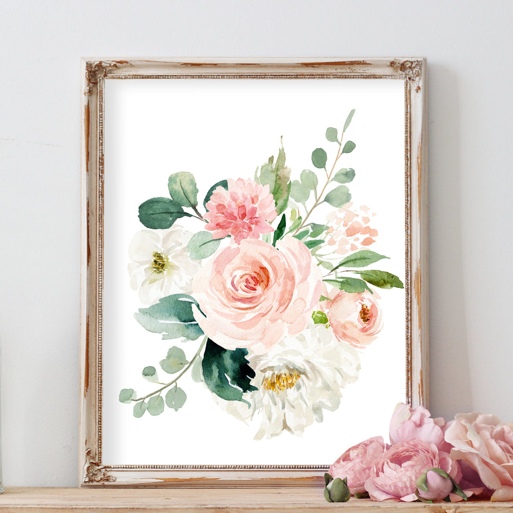 Blush and Mint Floral Nursery Wall Art Watercolor Painting for Baby Girl