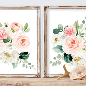 Nursery Art Girl Blush Pink and Mint Floral