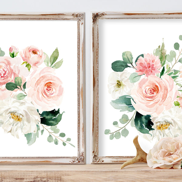 Blushed Collection - Set of 2 Floral Bouquets - Print
