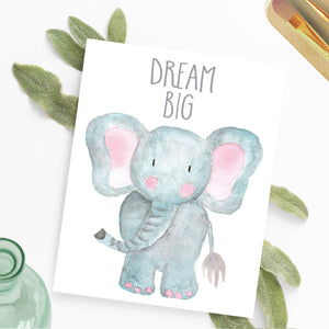 Watercolor Elephant Nursery Printable Art