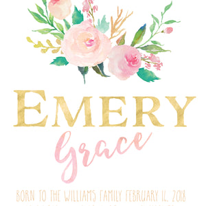 Floral Whimsy Birth Announcement - Personalized Print