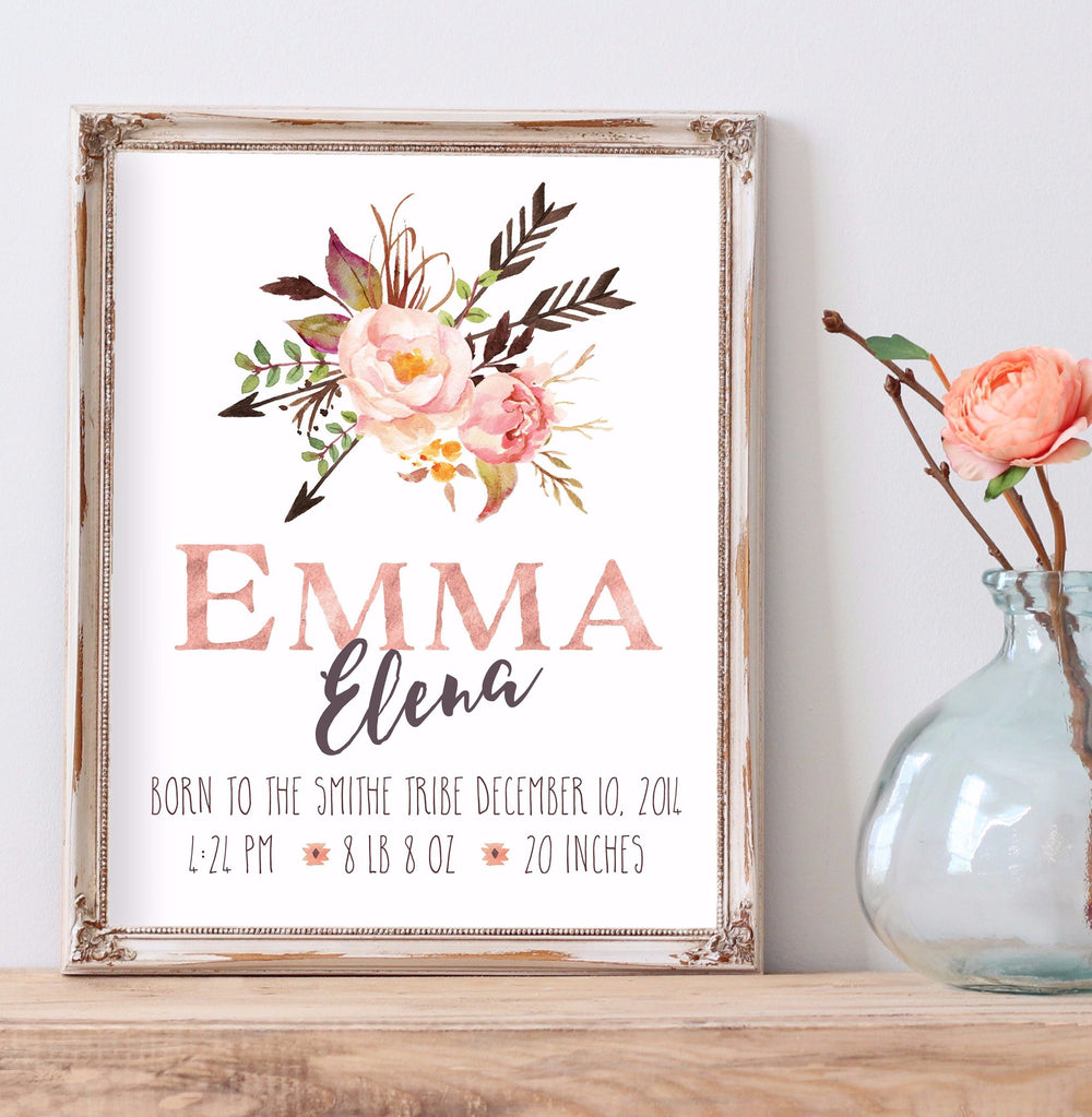 Tribal Rose Birth Announcement - Personalized Printable