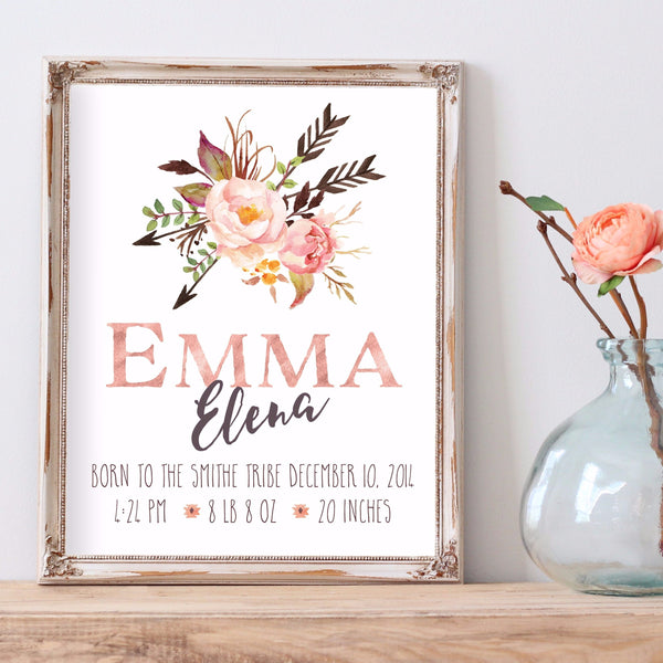 Tribal Rose Birth Announcement - Personalized Print