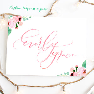 Custom Calligraphy Watercolor Floral Corners - Print