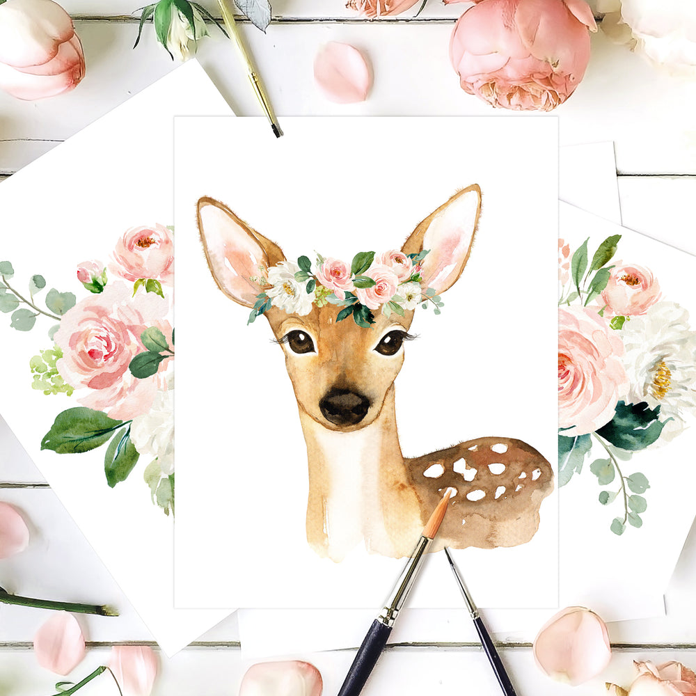 Woodland Nursery Art Girl - Watercolor Deer with Blush Pink And Mint Flower Crown - Boho Floral Woodland Nursery Decor For Baby Girl