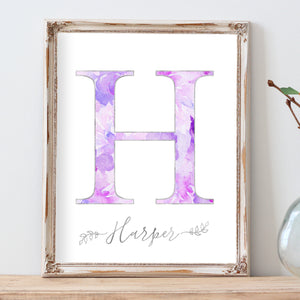 Floral Whimsy - Watercolor Floral Monogram - Personalized Print