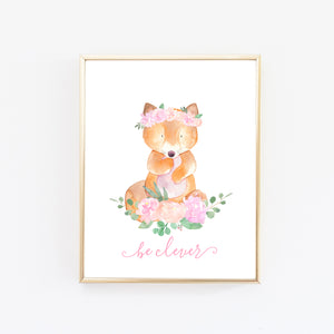 Woodland Nursery Art Girl Floral Fox for Baby Girl Nursery Wall Art