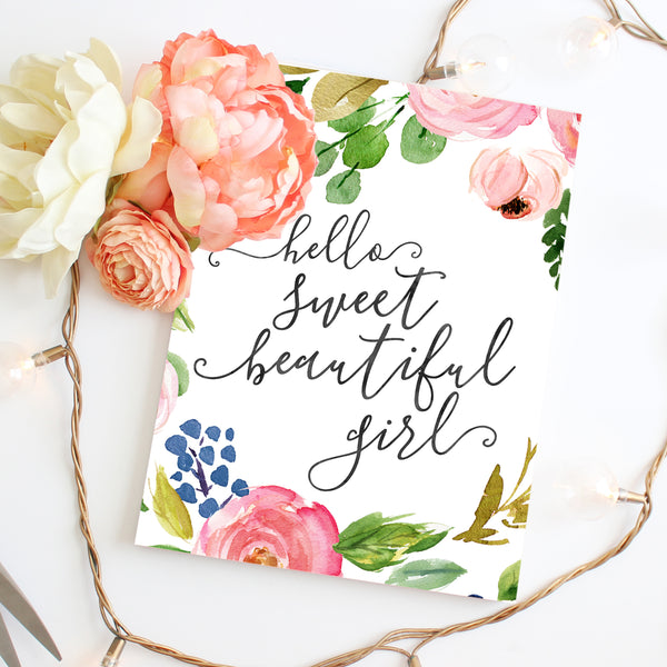 Meadowland Collection - Hello Sweet Beautiful Girl - Instant Download