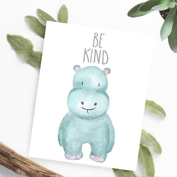 Safari Collection - Hippo Be Kind - Print