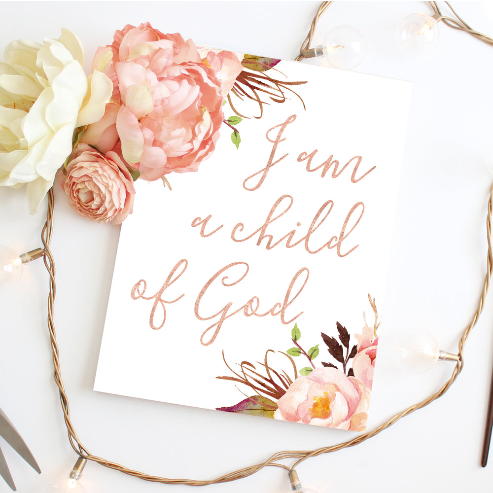 Tribal Rose - I am a child of God - Print