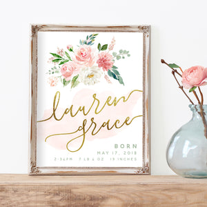 Blushed Birth Announcement - Personalized Printable