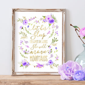 Purple Nursery Art - Lavender Nursery Art - Let Her Sleep