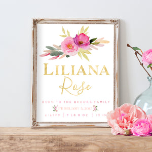 Rosewater Collection Birth Announcement - Personalized Printable