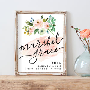 Meadowland Birth Announcement - Personalized Print