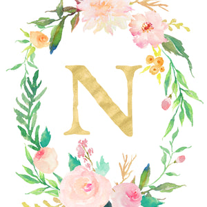 Floral Whimsy Monogrammed Wreath - Personalized Print