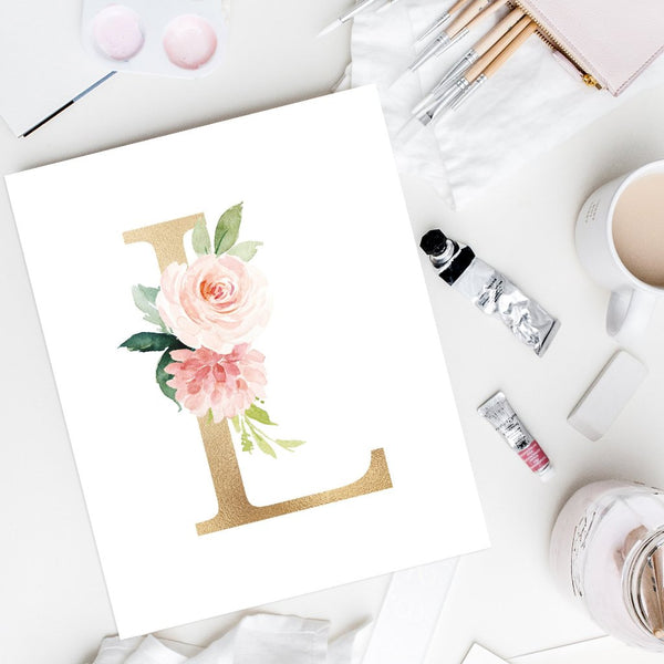 Blushed Collection - Floral Monogram Alphabet - Instant Download