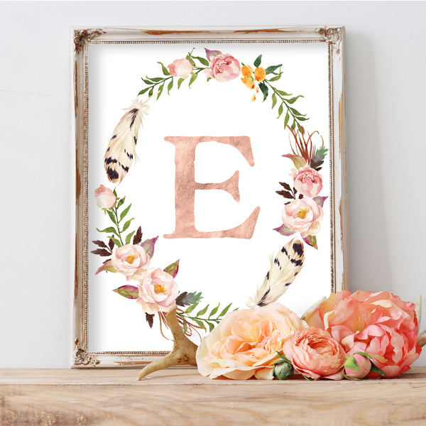 Tribal Rose Floral Monogram Wreath - Personalized Print
