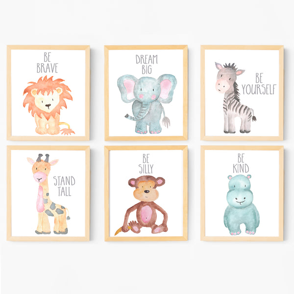 Baby Animal Paintings - Watercolor Nursery Wall Art