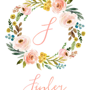 Meadowland Floral Monogram Wreath with Name - Personalized Printable