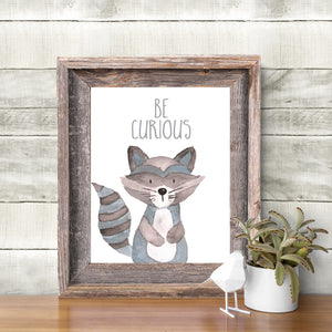 Woodland Collection - Raccoon - Be Curious - Instant Download
