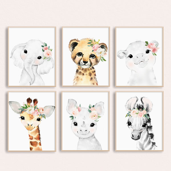 Blush Pink And Mint Nursery Decor - Watercolor Safari Animal Paintings