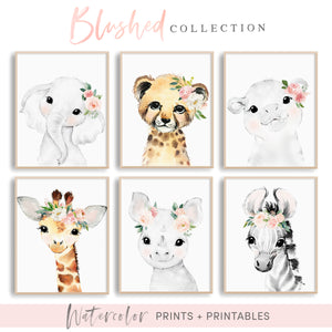 Blush Nursery Art - Animals with Pink and Mint Flowers - Boho Nursery Art