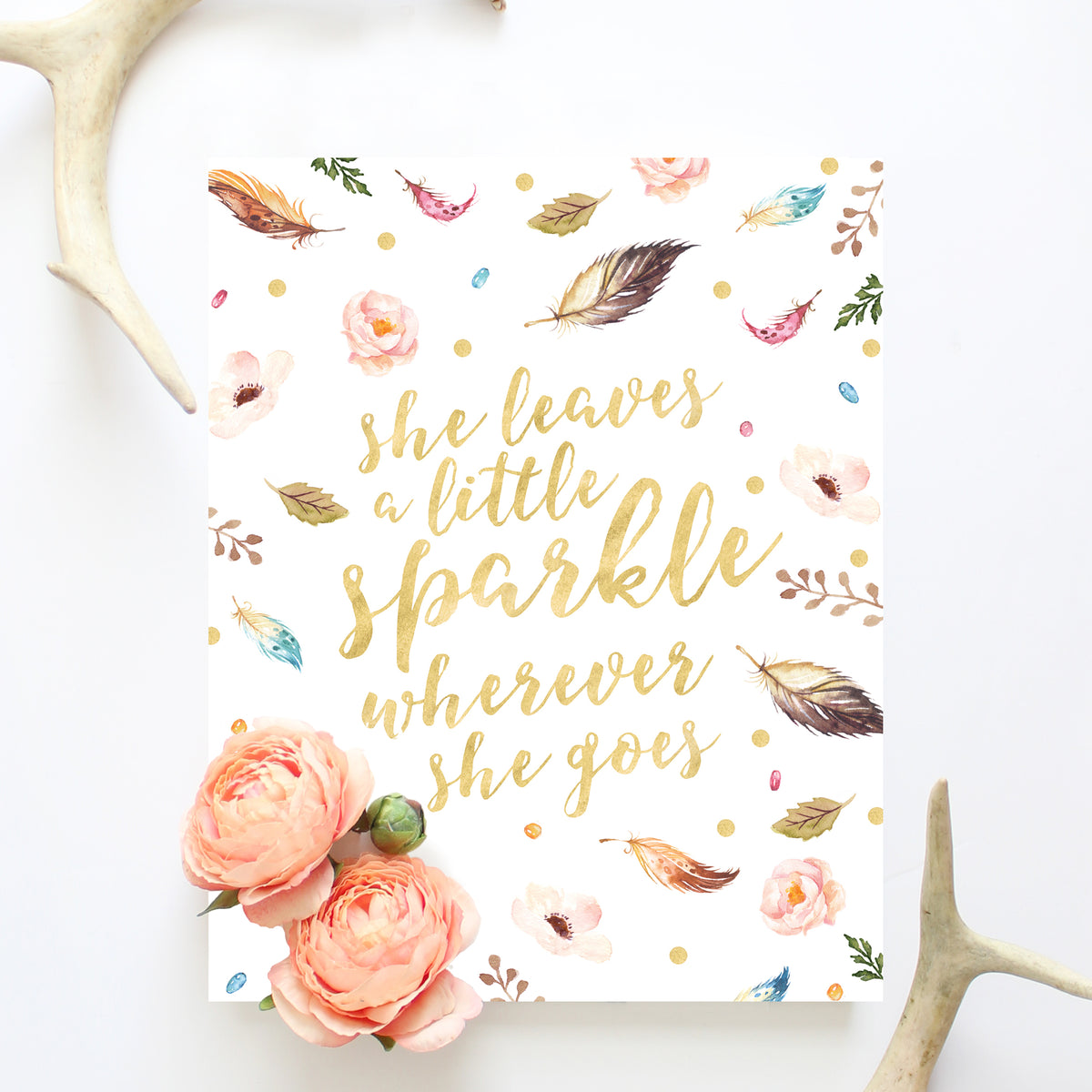 photo relating to She Leaves a Little Sparkle Wherever She Goes Free Printable identified as Boho Nursery Artwork - She Leaves A Minimal Sparkle Any place She Goes