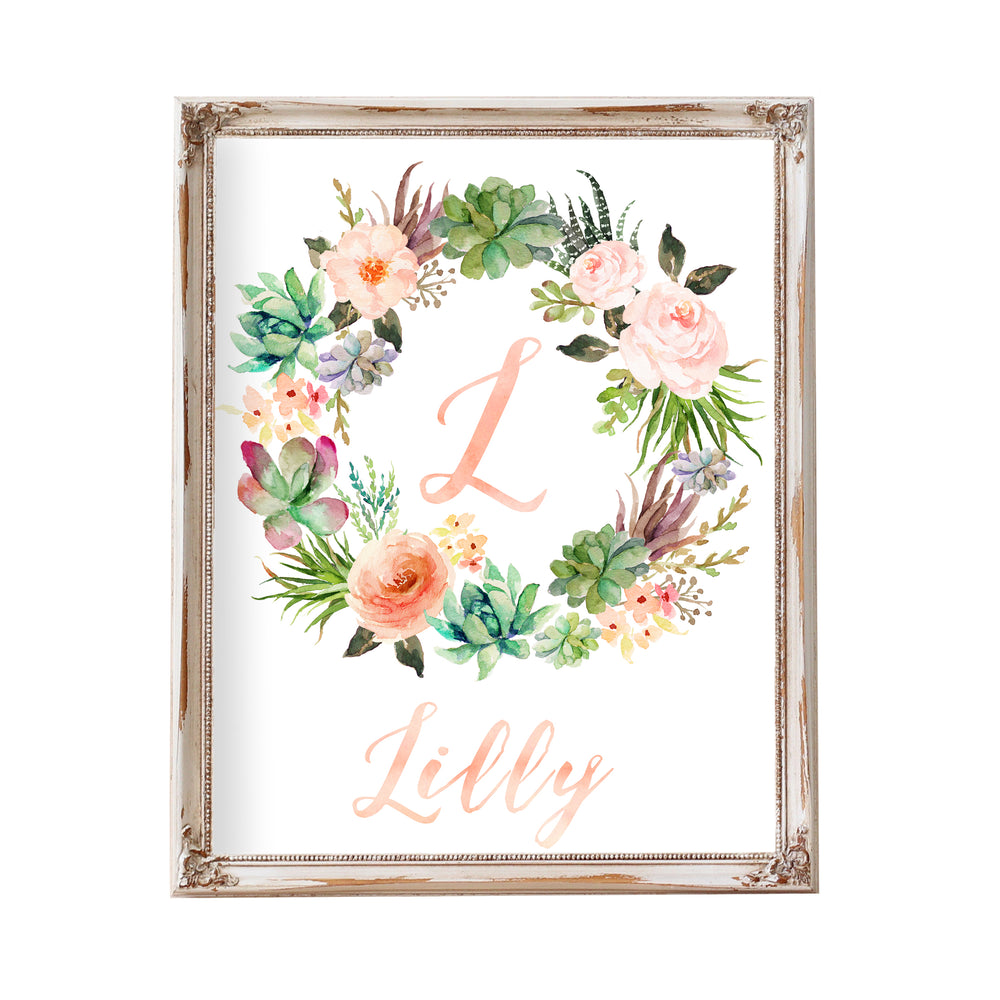 Tribal Peach Floral Monogram Wreath - Personalized Printable