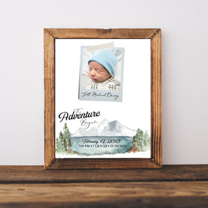 Woodland Nursery Adventure Nursery Birth Announcement for Baby Boy