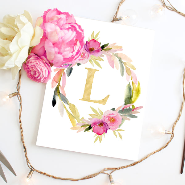 Rosewater Collection - Floral Monogram Wreath - Personalized Print
