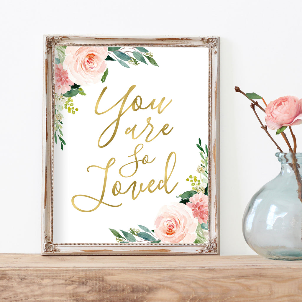 You Are So Loved Baby Girl Nursery Wall Art Print For Floral Nursery