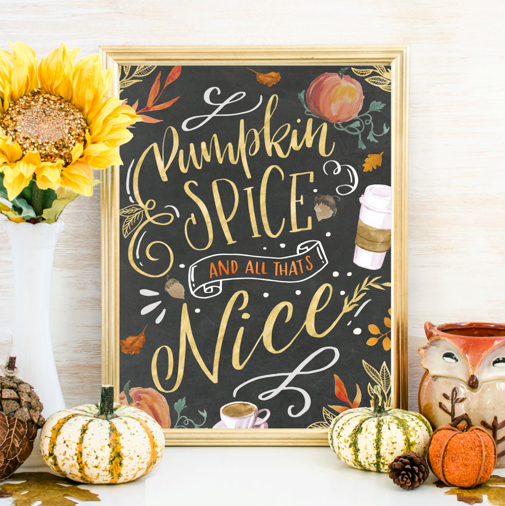 Pumpkin Spice Fall Wall Art, Fall Print Printable, Fall Decor, Fall Signs, Coffee Bar Thanksgiving Decor Art Print Printable Chalkboard Art