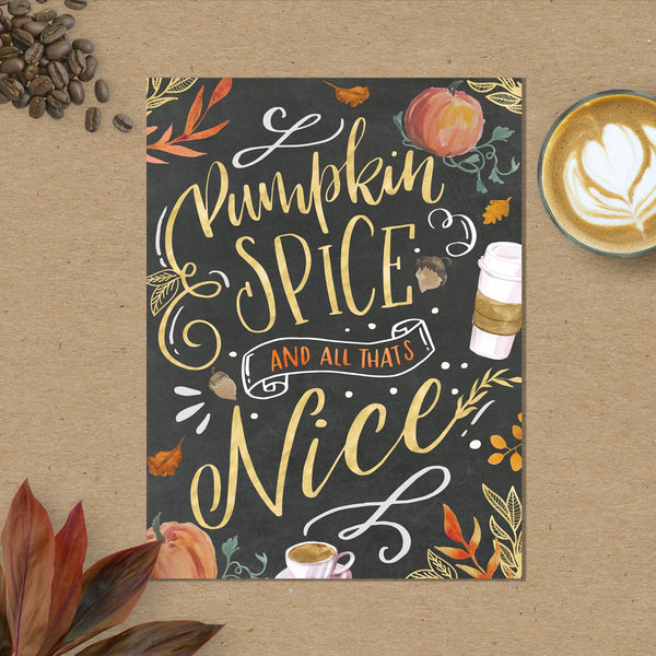 Fall Art Print - Fall Decor - Fall Watercolor - Fall Decorations - Fall Wall Decor - Pumpkin Spice And Everything Nice - Happy Pumpkin Spice