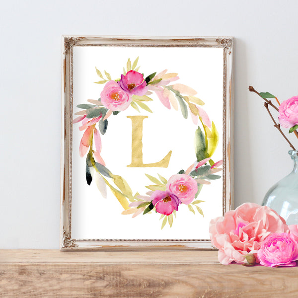Watercolor Floral Monogram Wreath Floral Nursery Monogram Colorful Nursery White Nursery Art Print Baby Girl Nursery Watercolor Nursery Art