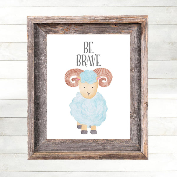Ram Nursery Art Print, Ram Nursery Decor  Farm Animal Nursery Art, Farm Nursery Print,  Country Nursery Art, Farm Theme Art Print, Be Brave