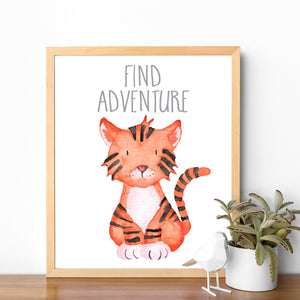 Tiger Art Find Adventure Tiger Print Tiger Painting Baby Tiger Zoo Nursery Safari Nursery Animal Nursery Print Printable Art Artwork Picture