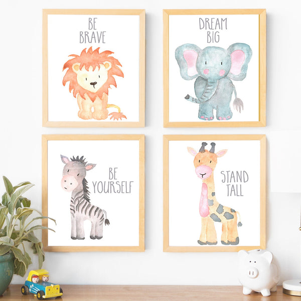 Gender Neutral Nursery Decor Kids Room Decor Kids Wall Art Animal Nursery Art Baby Animal Nursery Art Cute Nursery Decor Nursery Animal Art