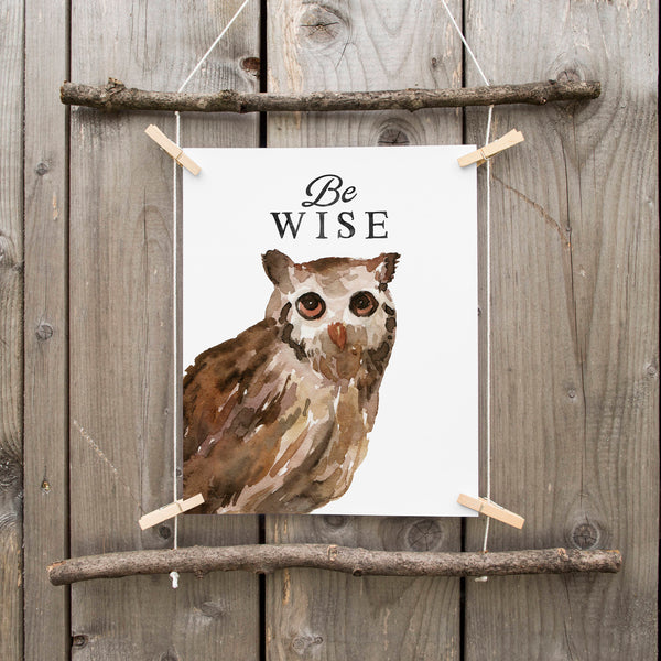 Owl Nursery Art Print Owl Nursery Decor Watercolor Woodland Owl Art Print Printable Art Gray Black White Minimalist Nursery Art Owl Painting