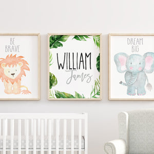 Baby Animal Nursery Wall Art Print Printable Watercolor Animal Art Prints Safari Animal Prints Painting Animals Set of 6 Prints for Nursery