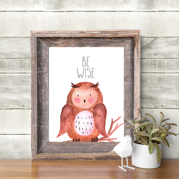 Woodland Nursery Art Watercolor Owl Print Printable Nursery Wall Art Print Be Wise Animal Nursery Wall Art Baby Boy Nursery Kids Wall
