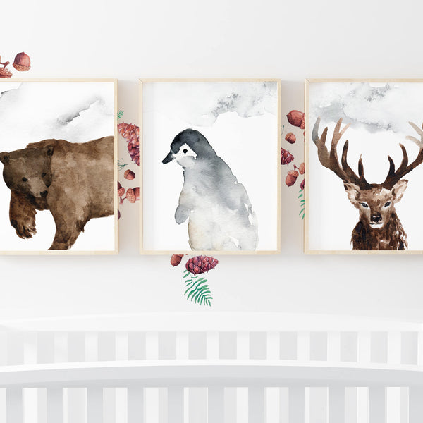 Woodland Nursery Decor Wall Art Baby Boy Nursery Prints Woodland Animal Nursery Bear Penguin Deer Watercolor Prints Baby Animal Paintings